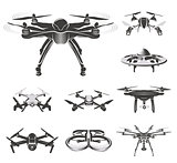 Isolated quadcopter, rc drone logo collection, fpv device logotype set vector illustration