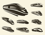 Isolated monochrome modern gravure style train logos set on white background vector illustration.