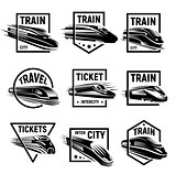 Isolated monochrome modern gravure style train in frame logos set on white background vector illustration.