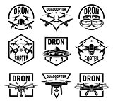 Isolated monochrome quadcopter icons in frames, rc drone logos collection, fpv device logotype set vector illustration.