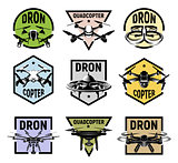 Isolated quadcopter icons in colorful frames, rc drone logos collection, fpv device logotype set vector illustration.