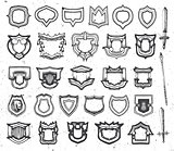 Isolated abstract black and white color coat of arms,shield and sword logos set, ancient weapon logotypes collection vector illustration.