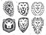 Isolated abstract black and white color coat of arms with lion image logos set, medieval shields logotypes collection vector illustration.