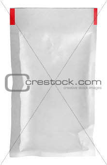 Clear white packet vertically