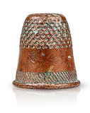 Old antique copper thimble