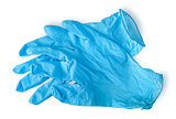 Pair blue medical gloves