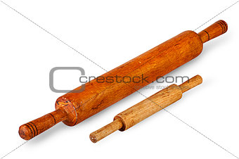 Small and large rolling pin near