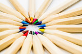 Colorful pencils white background