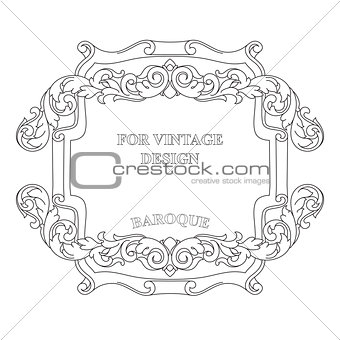 Vector frame with floral ornament on white background.