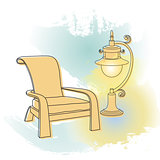 Vector drawing.  Outlines lamp and armchair.