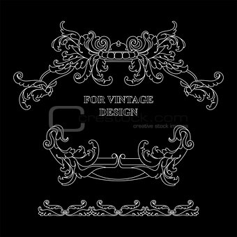 Vector frame with floral ornament on black background.