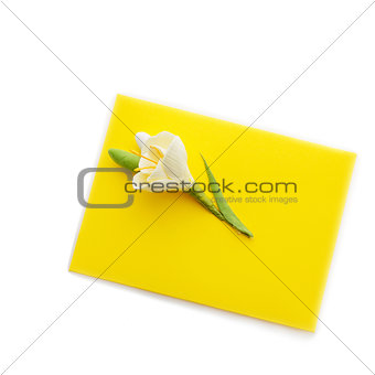 Close up of yellow envelope with flower