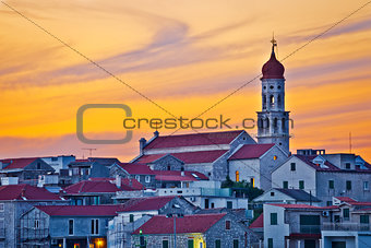 Town of Betina skyline at sunset