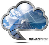 Solar Energy - Metal Cloud with Solar Panel