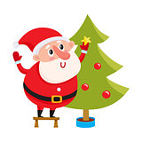 Cute and funny Santa Claus decorating a Christmas tree