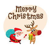 Funny Santa Claus and reindeer in red scarf standing together