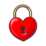 Traditional red heart shaped padlock for love lock unity ceremony