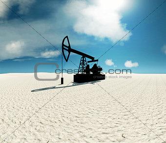 Oil rocking chair in the desert 3D illustration