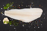 Fresh halibut fillet.
