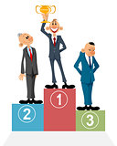 Three businessmen on pedestal