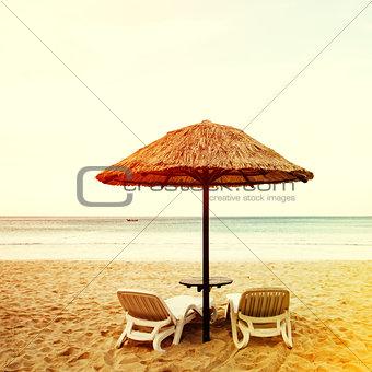 Beach resort, sea coastline with sandy beach
