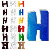 Set of letter H, filled with floral elements.