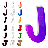 Set of letter J, filled with floral elements.