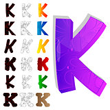 Set of letter K, filled with floral elements.