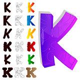 Set of letter K, filled with floral elements.