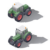 Agricultural tractors isometric icon set