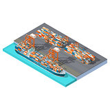 Modern sea container terminal isometric icon set