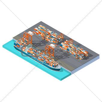 Modern sea container terminal isometric icon set