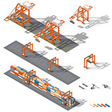 Sea container terminal. Ship-to-shore, and storage containers zone, which is represented the work rtg and sts cranes and related equipment, terminal tractors and container handler, isometric icon set