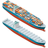 Container ship laden and empty, isometric icon set