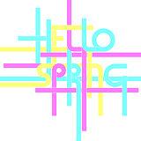 Vector typography background, phrase Hello Spring