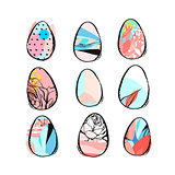 Hand drawn vector abstract creative Easter brush painted eggs collection set