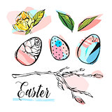 Hand drawn vector abstract creative graphic brush painted Easter design elements