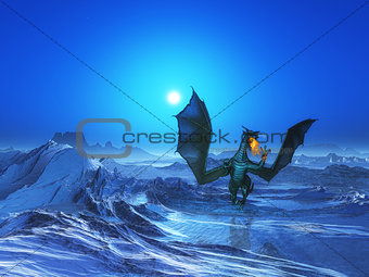 3D fire breathing dragon in icy landscape