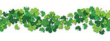Happy Saint Patrick s day vector horizontal seamless pattern background with shamrock.