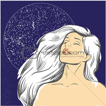 Blond woman at night with moon stock vector illustration