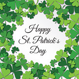 Happy Saint Patrick Day congratulation card with clower, shamrock.