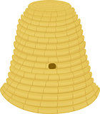 beehive woven from straw on a white background