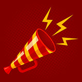 Striped megaphone on red background.