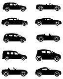 Ten cars silhouettes