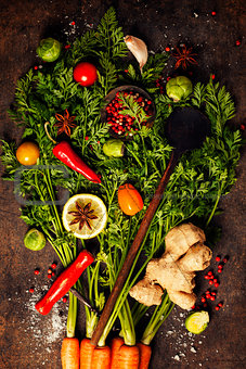fresh carrots bunch, herbs and spices
