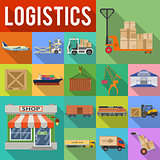 Cargo Transport and logistics Icon Set