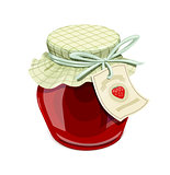 Strawberry jam jar. Vintage style.