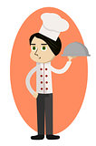 Cartoon chef carrying dinner plate with perfect meal