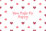 Valentine greeting card with text and pink hearts
