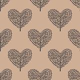 seamless pattern trees heart